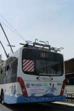 Van Hool Gelenks-Obus am 9.6.2012 in Riccione.