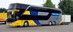 Setra S 431 DT von Srbija Tours International Belgrad Serbien in Ulm am 26.07.2016.